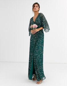 Read more about Maya bridesmaid delicate sequin wrap maxi dress in green