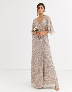 Read more about Maya bridesmaid delicate sequin wrap maxi dress in taupe blush-brown
