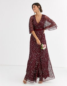 Read more about Maya bridesmaid delicate sequin wrap maxi dress in wine-red