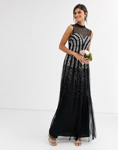 Read more about Maya bridesmaid embellished maxi dress with sweetheart plunge neckline in black