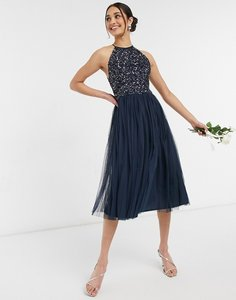 Read more about Maya bridesmaid halter neck midi tulle dress with tonal delicate sequin in navy