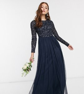 Read more about Maya bridesmaid long sleeve maxi tulle dress with tonal delicate sequins in navy
