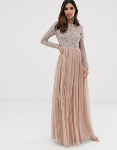 Read more about Maya bridesmaid long sleeve maxi tulle dress with tonal delicate sequins in taupe blush-pink