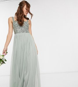 Read more about Maya bridesmaid sleeveless square neck maxi tulle dress with tonal delicate sequin overlay in sage g