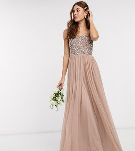 Read more about Maya bridesmaid sleeveless square neck maxi tulle dress with tonal delicate sequin overlay in taupe