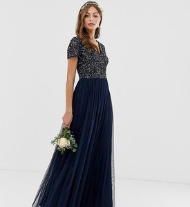 Read more about Maya bridesmaid v neck maxi tulle dress with tonal delicate sequins in navy