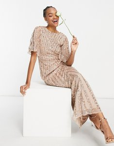 Read more about Maya flutter sleeve all over patterned sequin maxi dress in taupe blush-pink