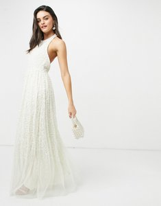 Read more about Maya halterneck open back all over sequin maxi dress in ecru-white