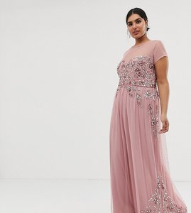 Read more about Maya plus allover premium embellished mesh cap sleeve maxi dress in vintage rose-pink