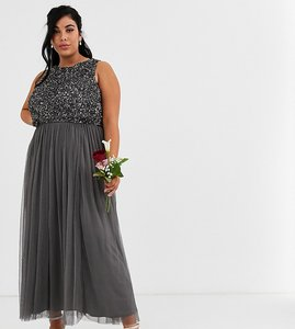 Read more about Maya plus bridesmaid delicate sequin 2 in 1 midaxi dress in dark grey