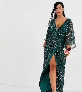 Read more about Maya plus bridesmaid delicate sequin wrap maxi dress in green