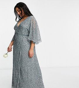 Read more about Maya plus bridesmaid delicate sequin wrap maxi dress in misty green
