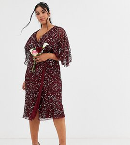 Read more about Maya plus bridesmaid delicate sequin wrap midi dress in wine-red