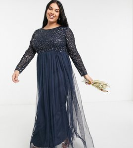 Read more about Maya plus bridesmaid long sleeve maxi tulle dress with tonal delicate sequins in navy