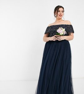Read more about Maya plus bridesmaid off shoulder maxi tulle dress with tonal delicate sequin in navy