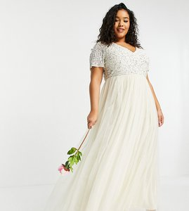 Read more about Maya plus bridesmaid v neck maxi tulle dress with tonal delicate sequin in ecru-white