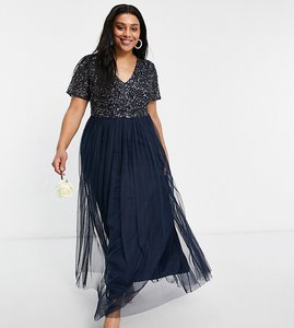 Read more about Maya plus bridesmaid v neck maxi tulle dress with tonal delicate sequin in navy
