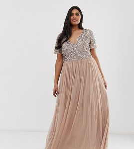 Read more about Maya plus bridesmaid v neck maxi tulle dress with tonal delicate sequins in taupe blush-brown