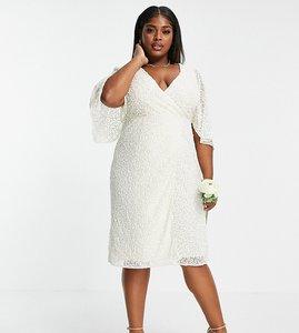 Read more about Maya plus delicate sequin wrap midi pencil dress in ecru-white