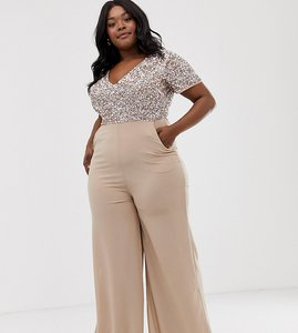 Read more about Maya plus v neck delicate sequin jumpsuit with palazzo leg in taupe blush-pink