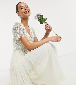 Read more about Maya tall bridal v neck maxi tulle dress with tonal delicate sequin in ecru-white