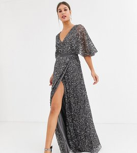Read more about Maya tall bridesmaid delicate sequin wrap maxi dress in dark grey
