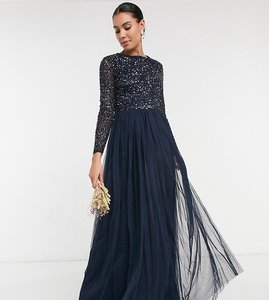 Read more about Maya tall bridesmaid long sleeve maxi tulle dress with tonal delicate sequins in navy
