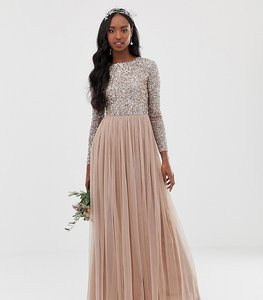 Read more about Maya tall bridesmaid long sleeve maxi tulle dress with tonal delicate sequins in taupe blush-brown