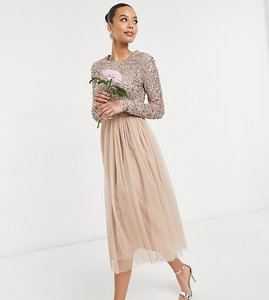 Read more about Maya tall bridesmaid long sleeve midi tulle dress with tonal delicate sequin in taupe blush-pink