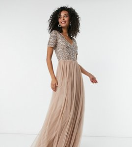 Read more about Maya tall bridesmaid v neck maxi tulle dress with tonal delicate sequins in taupe blush-brown