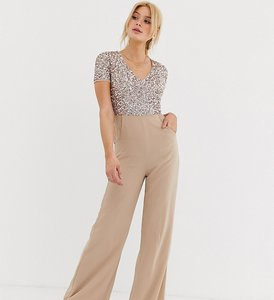 Read more about Maya tall v neck delicate sequin jumpsuit in taupe blush-pink