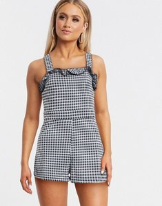Read more about Miss selfridge beach playsuit in gingham-black