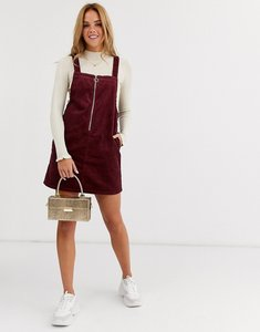Read more about Miss selfridge cord zip up pinny dress in burgundy-red