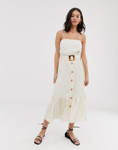 Read more about Moon river button through midi dress with buckle-white