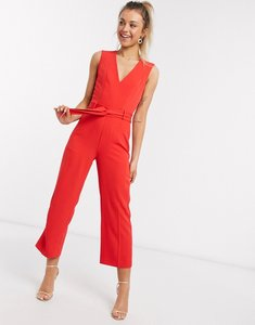Read more about Morgan jumpsuit with belt in red