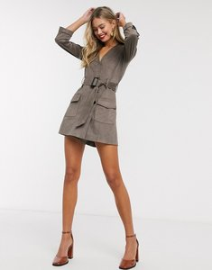 Read more about Morgan wrap front faux suede playsuit with belt in taupe-brown