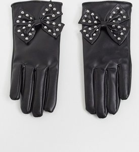 Read more about My accessories london gloves with studded bow detail in black faux leather