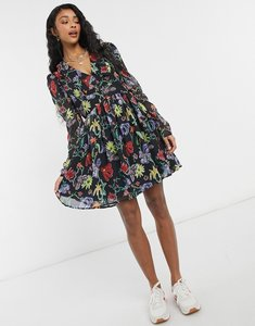 Read more about Na-kd collar floral print mini dress in multi