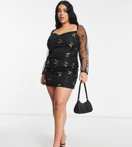 Read more about Naanaa plus sequin butterfly mesh dress in black