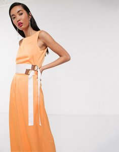 Read more about Native youth relaxed wide leg jumpsuit with double belt in satin-orange