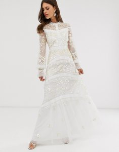 Read more about Needle thread bridal lace maxi dress with button detail in ivory-blue