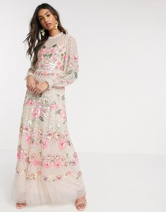Read more about Needle thread floral embellished maxi dress in blush-pink