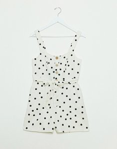 Read more about New look button down tie waist playsuit in white based polka dot