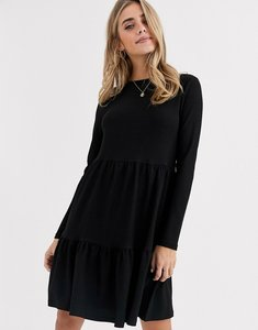 Read more about New look crinkle smock long sleeve mini dress in black