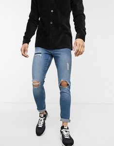 Read more about New look rip and repair skinny jeans in light wash-blue