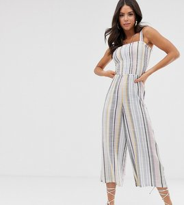 Read more about New look tall shirred jumpsuit in multi stripe