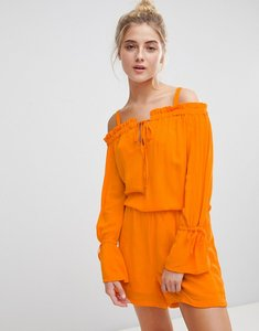 Read more about Noisy may cold shoulder playsuit-orange