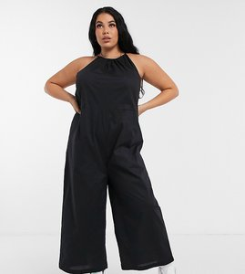 Read more about Noisy may curve poplin jumpsuit with halterneck in black