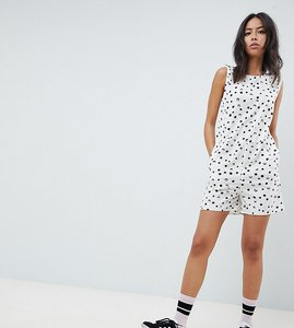 Read more about Noisy may tall polka dot playsuit-white
