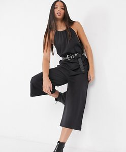Read more about Noisy may tall poplin jumpsuit with halterneck in black